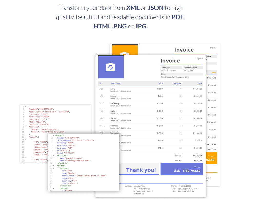 PrexView API gives developers a simple way to create documents from