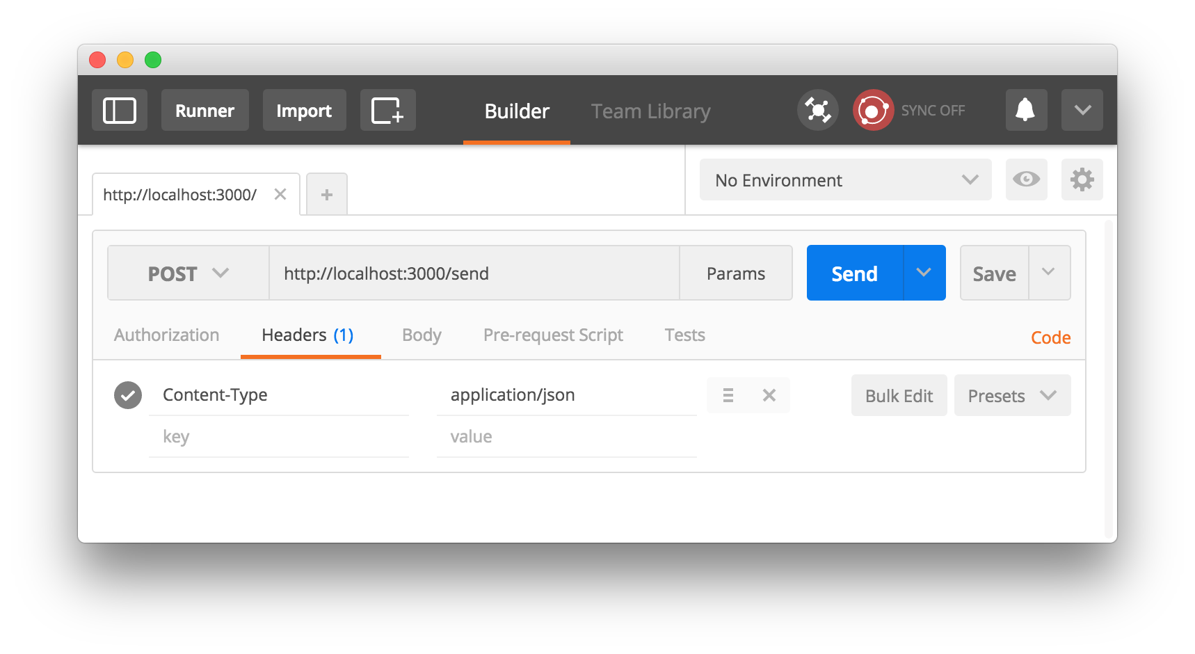 Send a post request to your app using Postman
