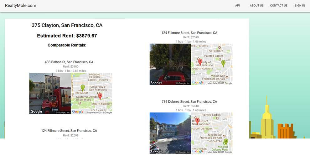 Find comparable rental properties via this API