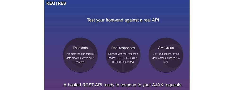 ReqRes API simulates real application scenarios for front end testing
