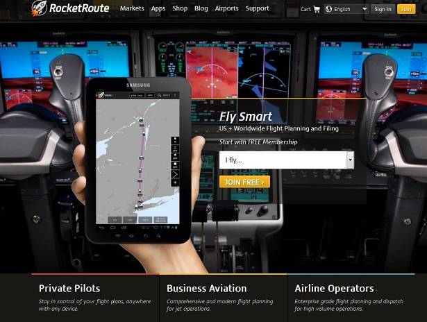 RocketRoute API provides airplane pilot flight planning services