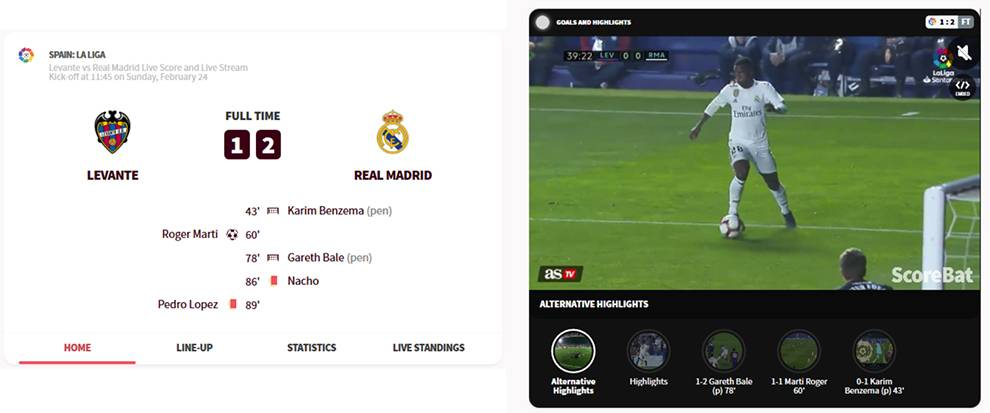Get live and historical highlights from football matches with ScoreBat API