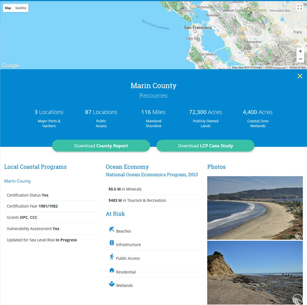 Get data such as sea level rise vulnerability by county with California Coastal Commission APIs