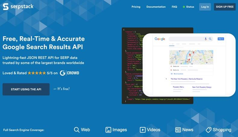 Home page of apilayer's serpstack real-time accurate Google search results and SEO API