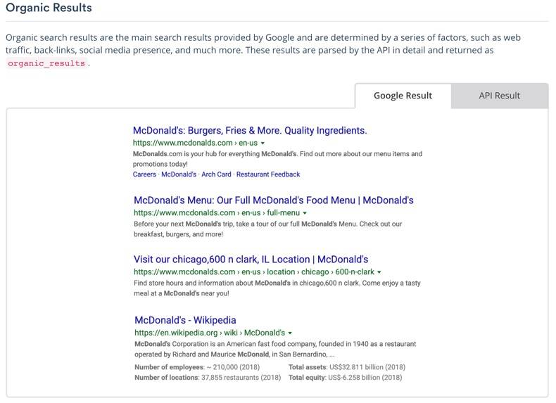 Search Engine Optimization (SEO) Screenshot of serpstack documentation for Organic Results, left tab shown has visual of Google Result, the right tab shows data objects returned for API Result.