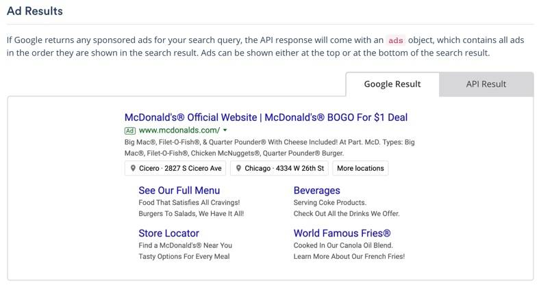 Search Engine Optimization (SEO) Screenshot of serpstack documentation for Ad Results, left tab shown has visual of Google Result, right tab shows data objects returned for API Result.
