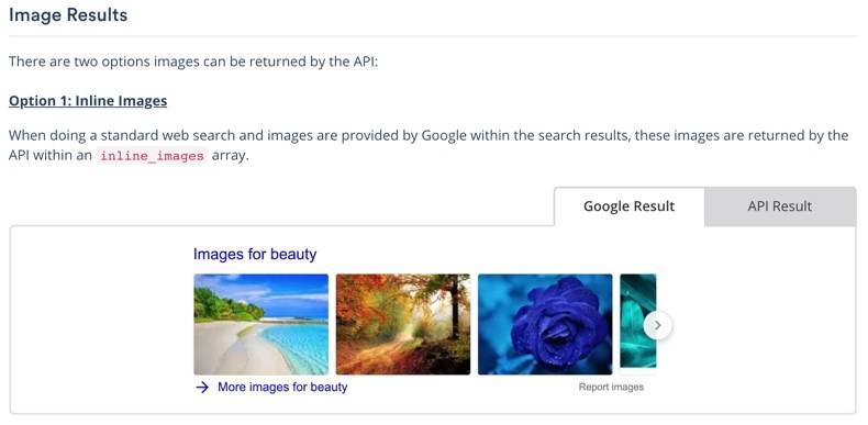 Screenshot of serpstack documentation Image Results, for a single row of images, left tab shown has visual of Google Result, right tab shows data objects returned for API Result.