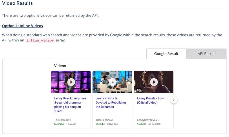 Search Engine Optimization (SEO) Screenshot of serpstack documentation for Video Results, left tab shown has visual of Google Result, the right tab shows data objects returned for API Result.