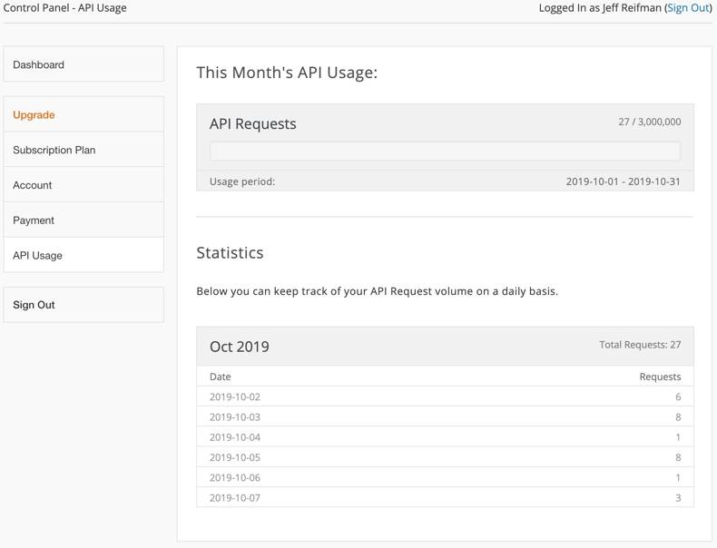 Search Engine Optimization (SEO) The serpstack Dashboard's API Usage page displays the number of Google search API requests all time as well as a statistical daily log for your internal tracking.
