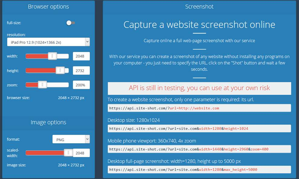 Capture customized screenshots with Site-shot API