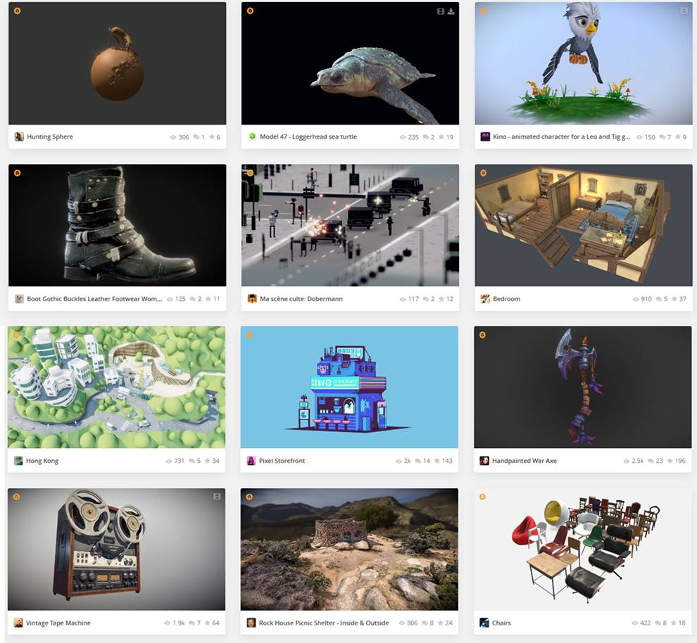 Examples of downloadable models available on SketchFab via API