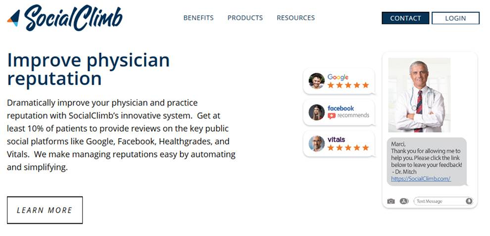 Physicians can improve reputation, attract new patients, and automate feedback process with the SocialClimb API