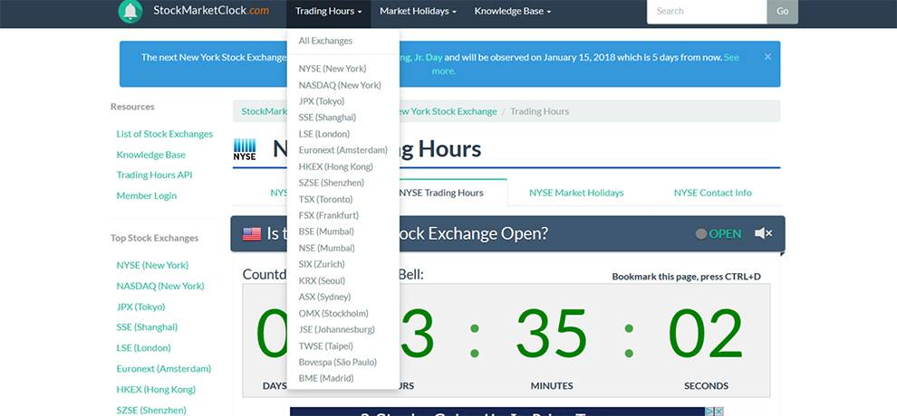App users can get an overview of which markets are open for trading with StockMarketClock API