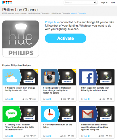 philips hue encourages app development for lighting home automation programmableweb. Black Bedroom Furniture Sets. Home Design Ideas