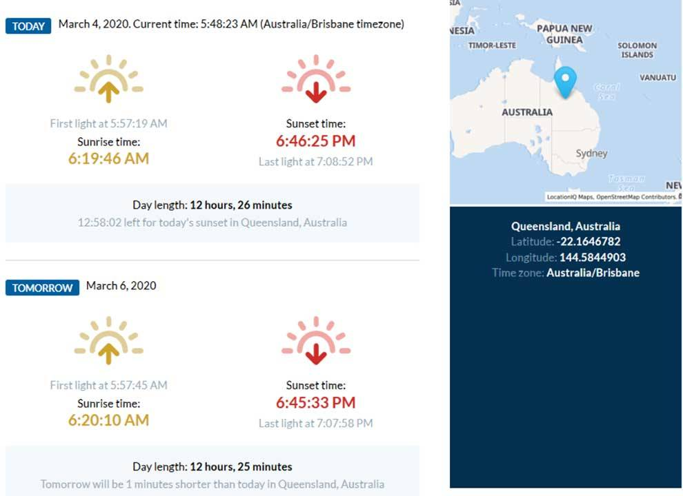 Get sunset and sunrise times for any location on Earth via this API