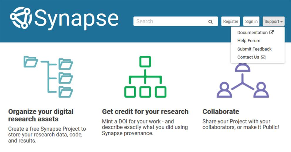 Synapse API for science research collaboration