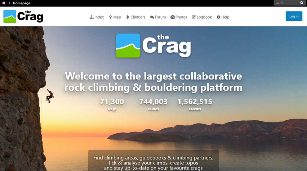 theCrag API for getting rock climbing content is in Beta release