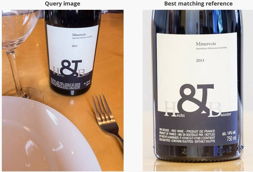 Tine Eye API identifies wine from photos of wine labels