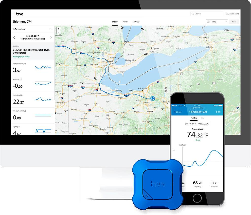 Tive Sensor Tracker provides real time shipment monitoring and API allows integration into ERP and SCM