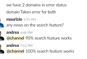 Figure 2: An example conversation developers have with the Slack support team.