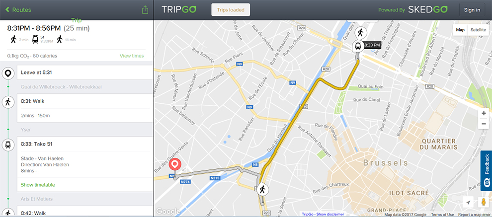TripGo API allows door-to-door routing