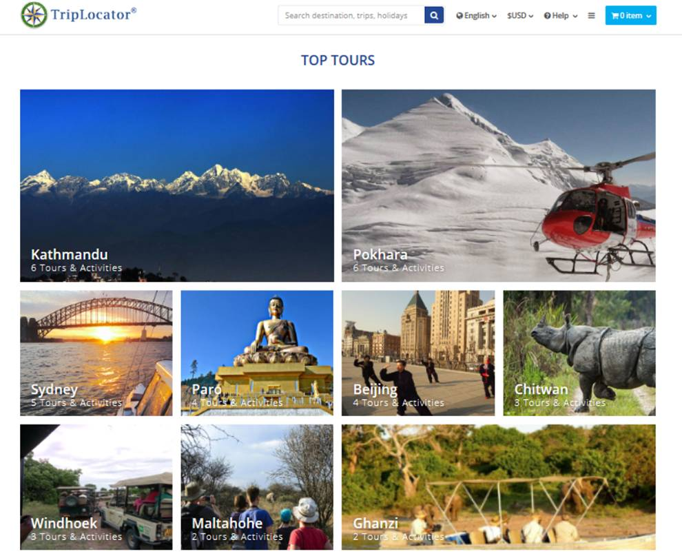 Enable applications to book exotic tours with TripLocator API