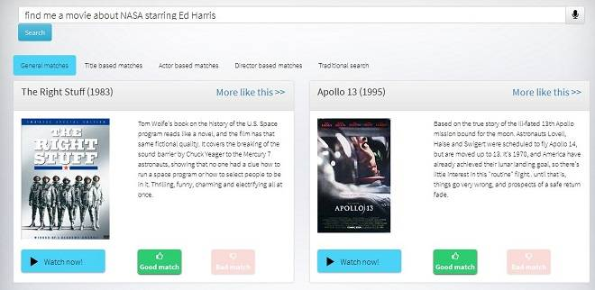 Valossa movies search API