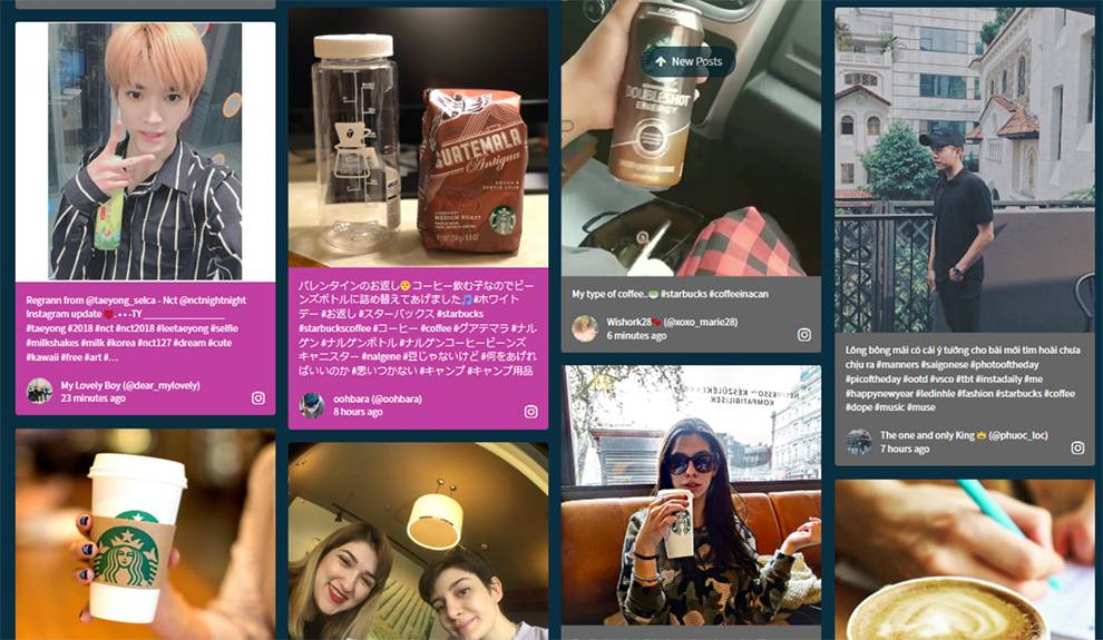 Here's a clip of the Walls.io Social Wall for Starbucks  - wallsio starbucks - Daily API RoundUp: AniList, Nuzzle, OnApp, Walls.io, Cybersource