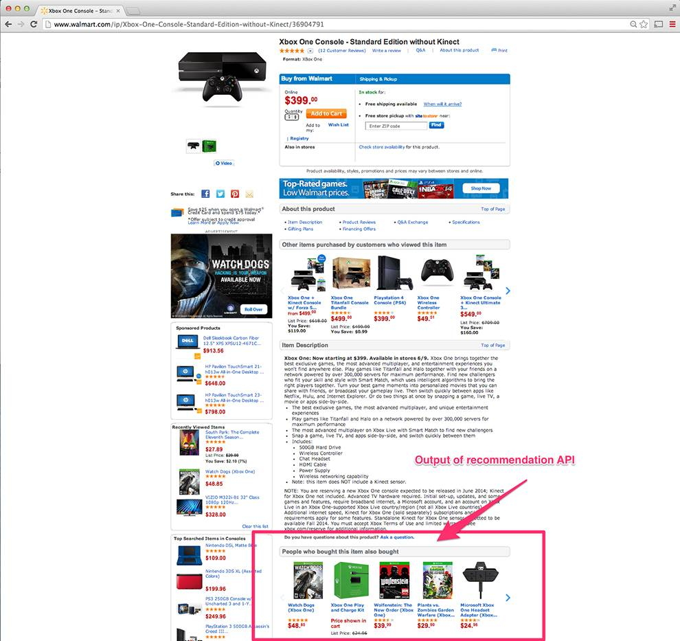Walmart Product Recommendation API can be used to suggest products to users
