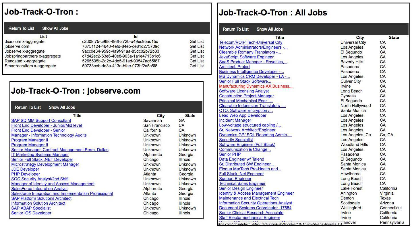 Figure 25: The sample application, Job-Track-O-Tron, gets job lists and job details using the Import.io API.