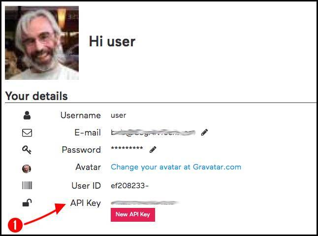 Figure 26: Your Import.io API Key is displayed in your account profile.