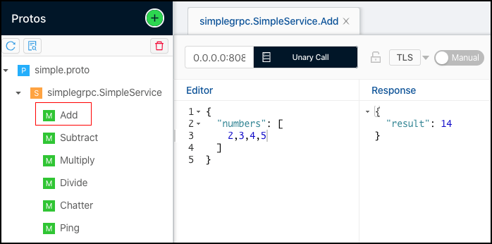 Figure 8: The Simple Service Add function sums up all the numbers in the submitted array using BloomRPC as a gRPC client application