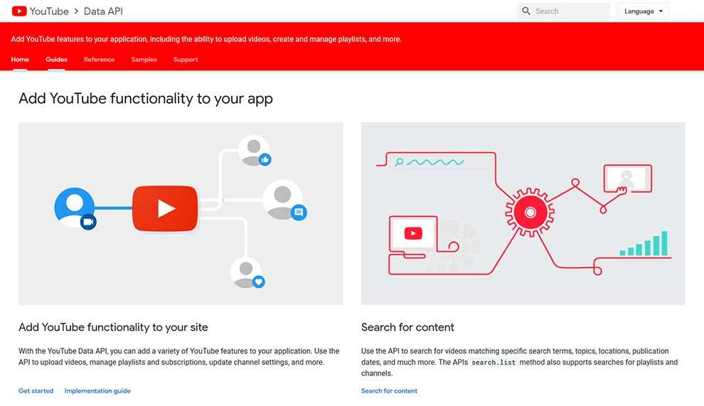YouTube Data API enables developers to add YouTube functions to applications