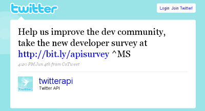 Twitter Developer Feedback Tweet