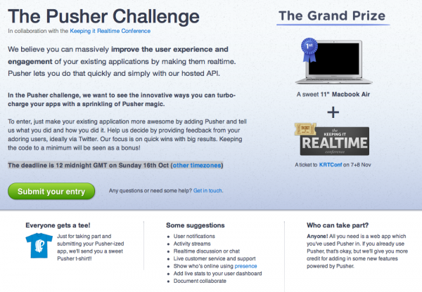 The Pusher Challenge Entry Page