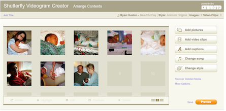 Shutterfly uses the API for Animoto's video animation tool