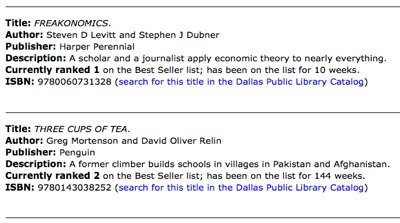 Dallas Public Library list of NY Time Best Sellers