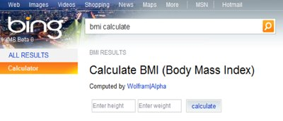 Wolfram results in Bing