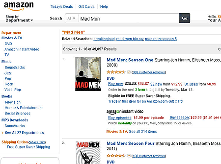 Amazon Search Results for Mad Men