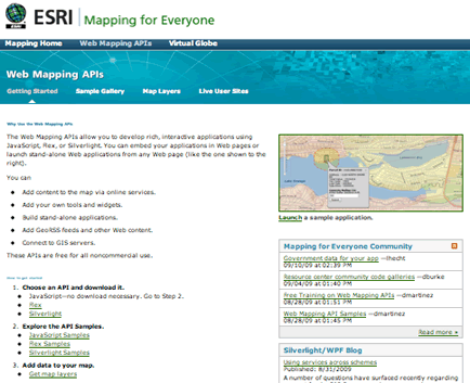ESRI Web Mapping API Samples