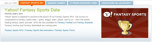 Yahoo Opens First Ever Fantasy Sports API | ProgrammableWeb