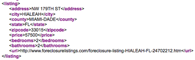 XML results from Foreclosure Listings API