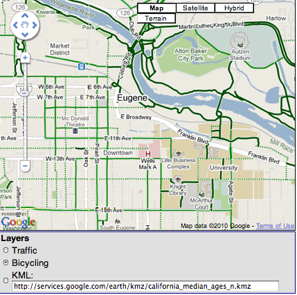 Google Maps API v3 Adds KML, Traffic, and Bike Routes ... on google map example, google map drawing, google maps car driving, google maps ui, google maps bird's eye view, google sky map, google maps lv, google maps offline, google mobile friendly, google maps thirteen original colonies, google maps messages, google maps ap, google maps dot, google maps himalayas, google maps 2014, google maps logo, google latitude history view, google maps online, google maps icon,