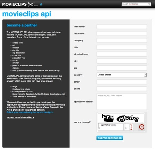 MovieClips API application
