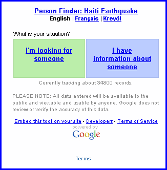 google people finder connecting people affected by the haitian