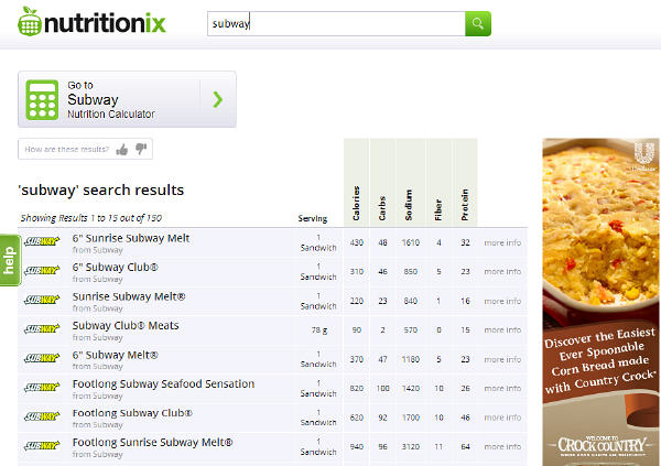 Nutritionix website search engine