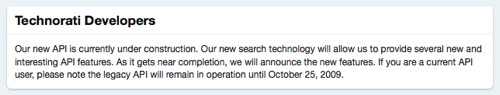 Technorati developers page shows the API is gone, with vague promise of a new API