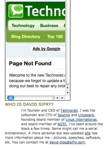 Technorati widget returns a 404