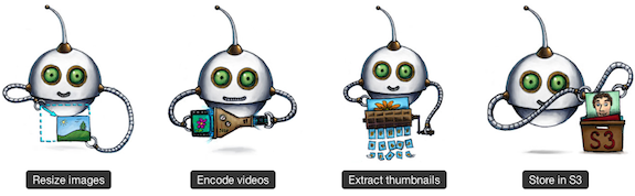 Transloadit Illustration: resize images, encode vides, extract thumbnails, store in S3