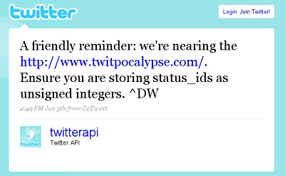 Twitpocalypse Warning